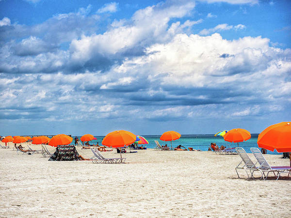 Photograph - Orange Umbrellas by Robin Zygelman