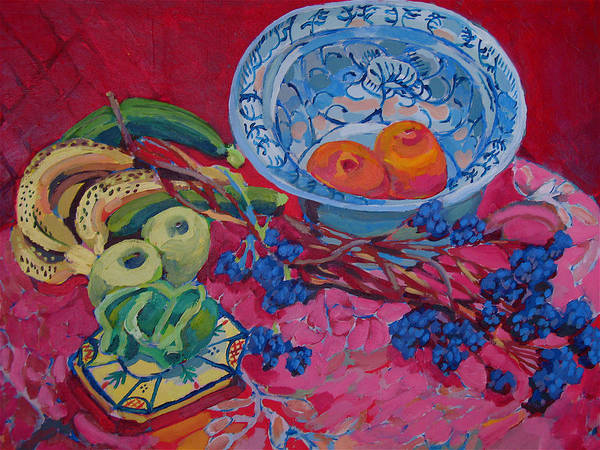 Oranges And Chinese Bowl Art Print by Doris  Lane Grey
