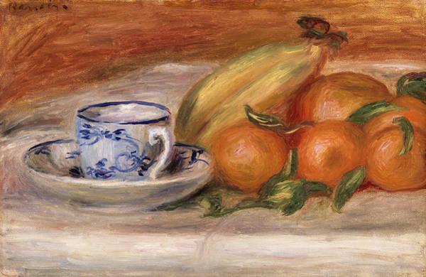 Teacup Painting - Oranges, Bananas, And Teacup by Pierre-Auguste Renoir