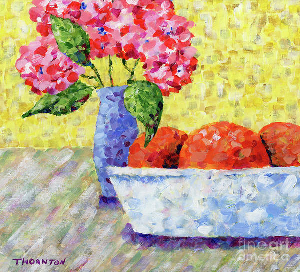 Painting - Oranges In Bowl With Flowers by Diane Thornton