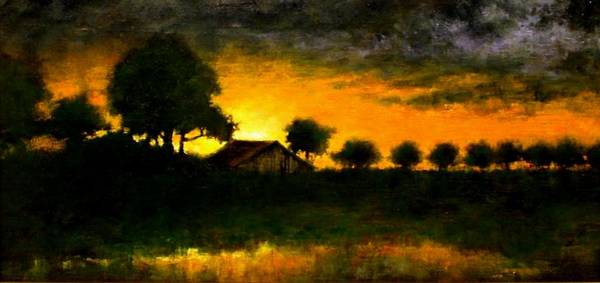 Stream Wall Art - Painting - Orchard Sundown by Jim Gola