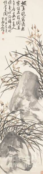 Painting - Orchid And Rocks by Celestial Images