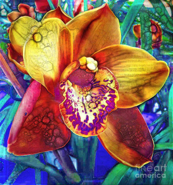 Single Leaf Mixed Media - Orchid Extraordinaire. by Trudee Hunter