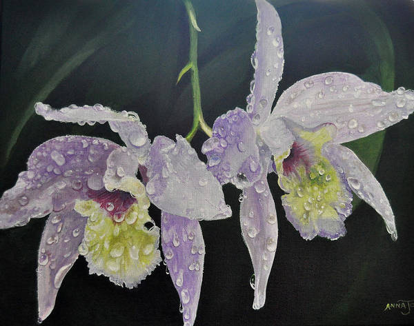Wall Art - Painting - Orchid Jewels by AnnaJo Vahle