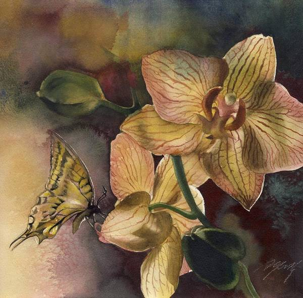 Painting - Orchid With Butterfly by Alfred Ng