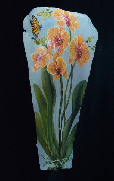 Painting - Orchid With Monarch by Nancy Lauby
