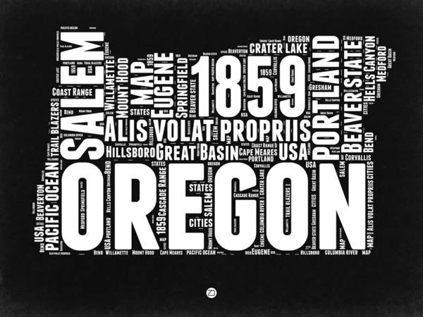 Portland Digital Art - Oregon Black And White Map by Naxart Studio