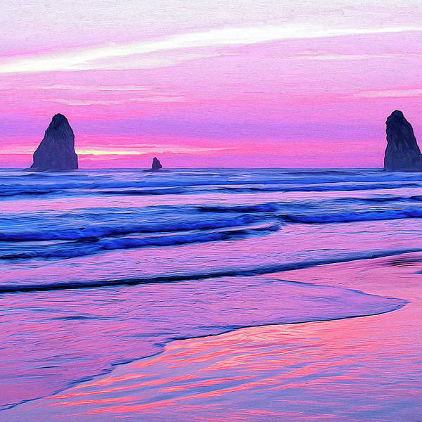 Cannon Beach Painting - Oregon Coast Sunset by Dominic Piperata