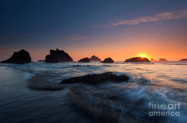 Rock Face Photograph - Oregon Islands Sunset by Mike Dawson