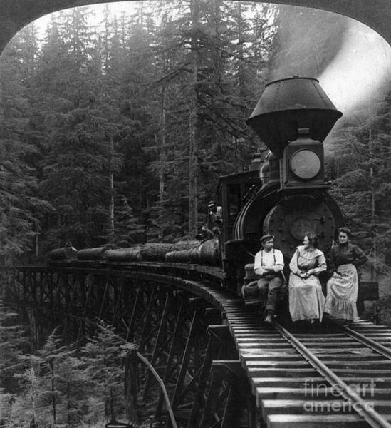 Turn Of The Century Wall Art - Photograph - Oregon: Logging Train by Granger