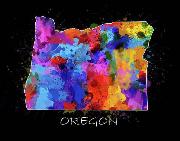 Oregon Coast Digital Art - Oregon Map Color Splatter 2 by Bekim Art