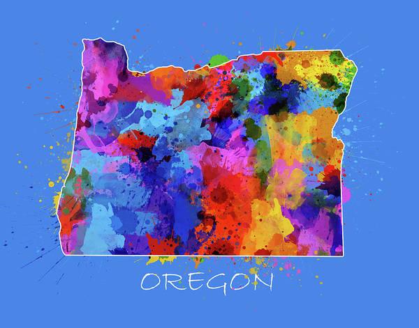 Oregon Coast Digital Art - Oregon Map Color Splatter 3 by Bekim Art