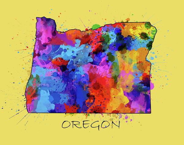 Oregon Coast Digital Art - Oregon Map Color Splatter 4 by Bekim Art