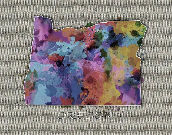 Oregon Coast Digital Art - Oregon Map Color Splatter 5 by Bekim Art