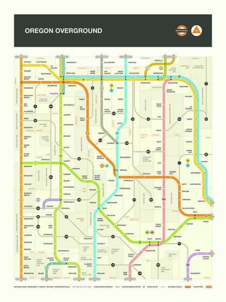 Subway Map Wall Art - Digital Art - Oregon Map by Jazzberry Blue