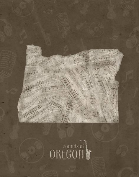 Oregon Coast Digital Art - Oregon Map Music Notes 3 by Bekim Art