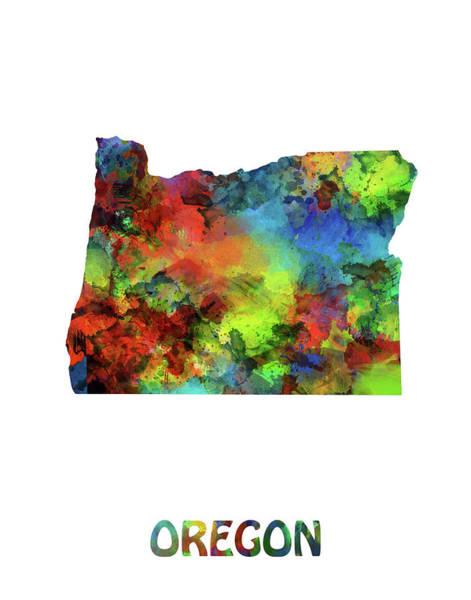 Oregon Coast Digital Art - Oregon Map Watercolor by Bekim Art