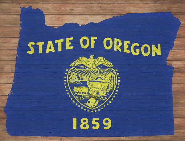 Oregon Coast Mixed Media - Oregon Rustic Map On Wood by Dan Sproul
