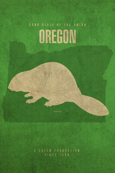 Wall Art - Mixed Media - Oregon State Facts Minimalist Movie Poster Art by Design Turnpike