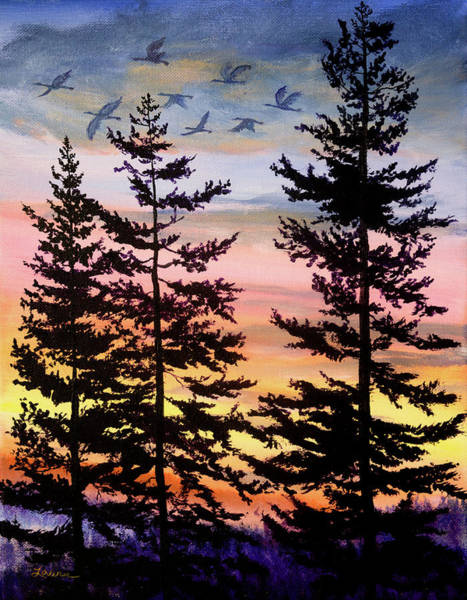 Wall Art - Painting - Oregon Sunset 1 by Laura Iverson
