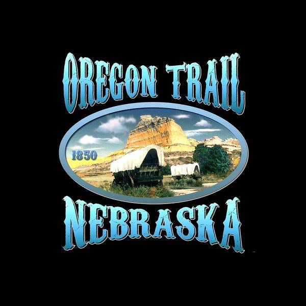 Clothing Design Mixed Media - Oregon Trail Nebraska History Design by Peter Potter