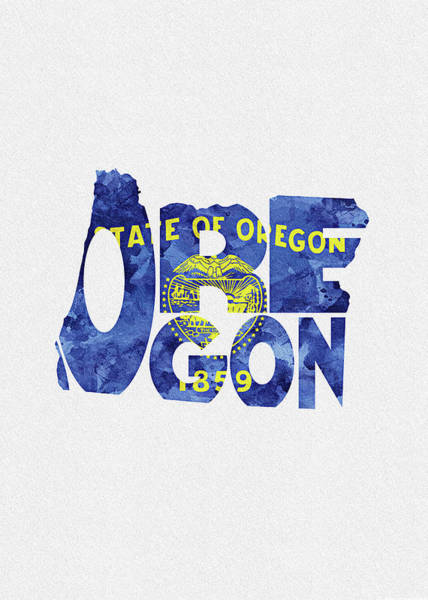 Digital Art - Oregon Typographic Map Flag by Inspirowl Design
