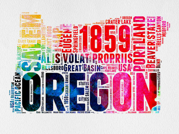 Map Art Mixed Media - Oregon Watercolor Word Cloud by Naxart Studio