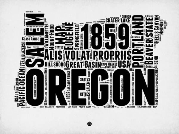 Map Art Mixed Media - Oregon Word Cloud 1 by Naxart Studio