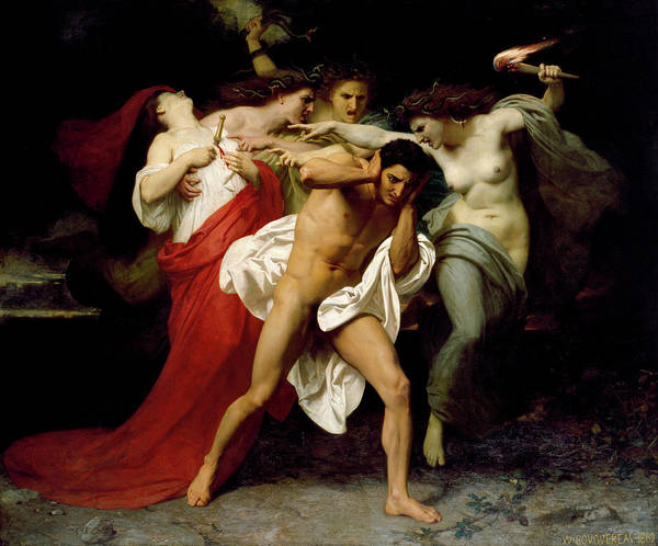 Wall Art - Painting - Orestes Pursued By The Furies by Adolphe William Bouguereau
