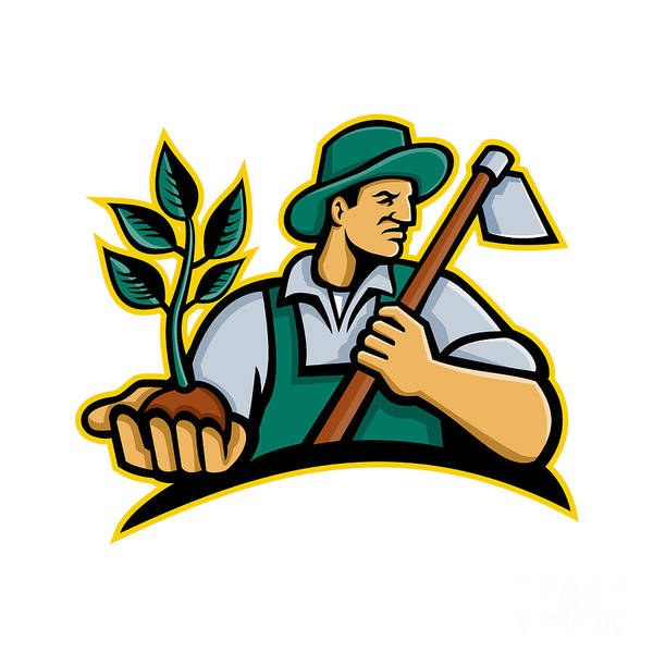 Wall Art - Digital Art - Organic Farmer Holding Plant Mascot by Aloysius Patrimonio