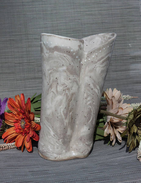 Wall Art - Photograph - Organic Marbled Ceramic Clay Vase by Suzanne Gaff