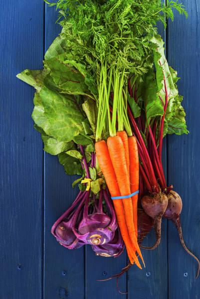 Purple Carrot Photograph - Organic Vegetables by Vishwanath Bhat