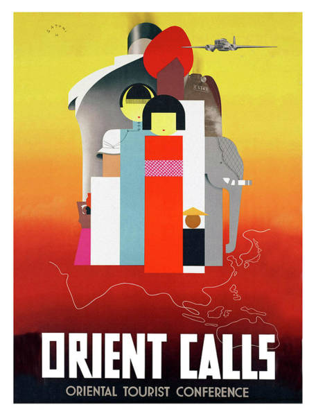 Wall Art - Painting - Orient Calls, Vintage Travel Poster by Long Shot