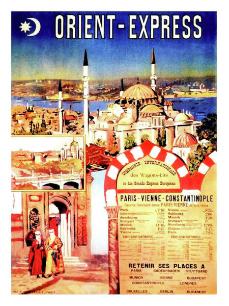 Wall Art - Painting - Orient Express, Istanbul, Vintage Travel Poster by Long Shot