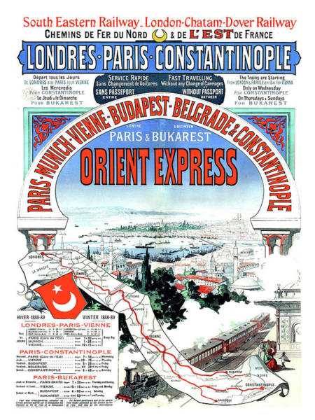Wall Art - Painting - Orient Express Railway Route, Travel Poster by Long Shot