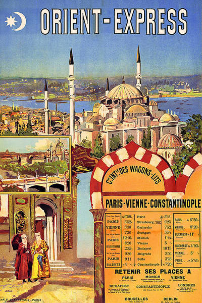 Vintage Train Painting - Orient Express, Railway, Vintage Travel Poster by Long Shot