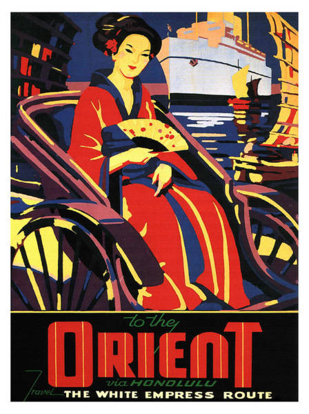 Wall Art - Painting - Orient, Honolulu, White Empress Route, Travel Poster by Long Shot