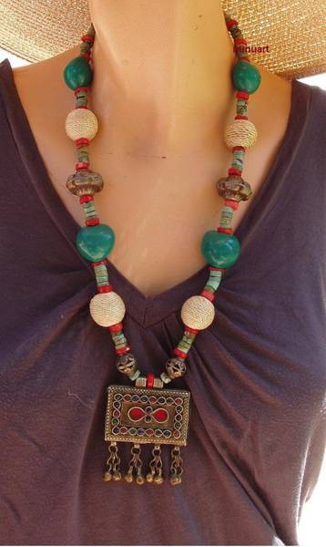 Wall Art - Jewelry - Oriental Necklace In Red Green Coral And Metal Beads by Nurit Tzubery