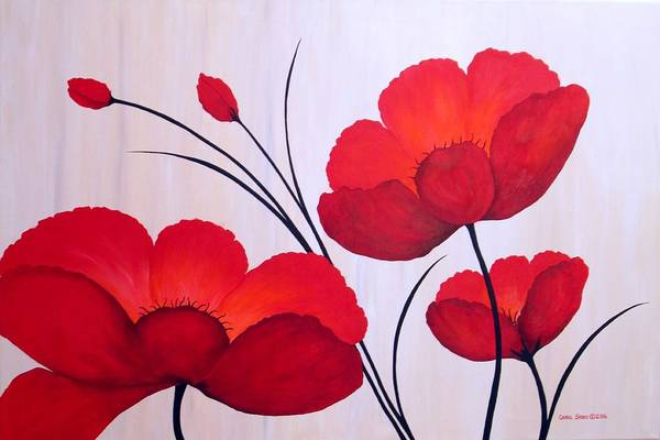 Wall Art - Painting - Oriental Poppies by Carol Sabo