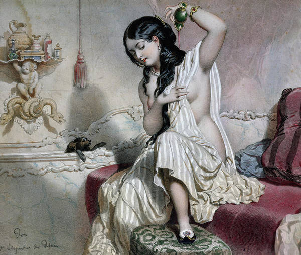 King Charles Spaniel Painting - Oriental Woman At Her Toilet by French School