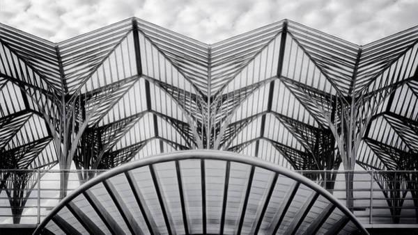 Photograph - Oriente Train Station Lisbon Bw by Joan Carroll