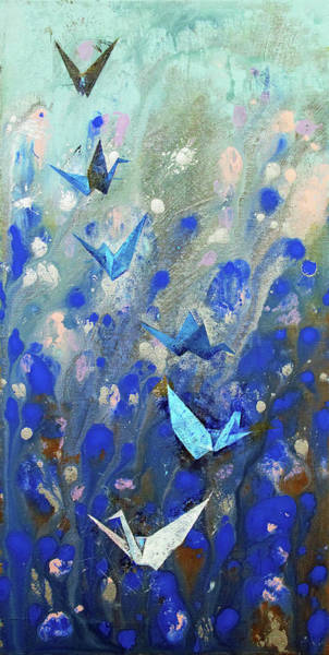 Wall Art - Painting - Origami Cranes by Michael Creese