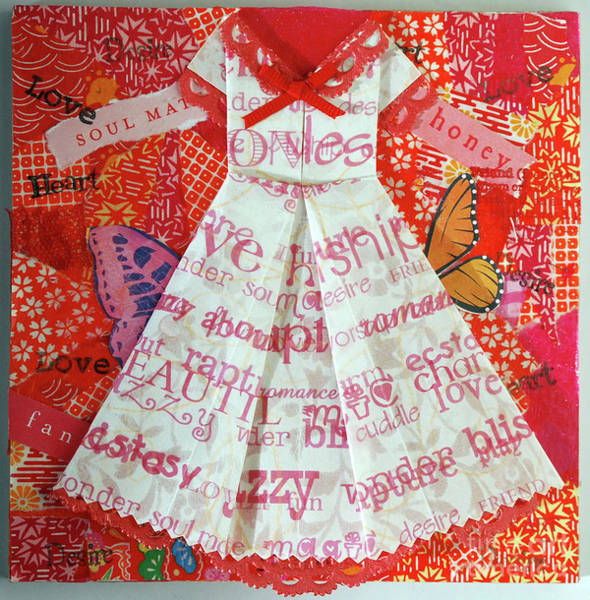 Paper Dress Mixed Media - Origami Dress White And Red by Virginia Fitzgerald
