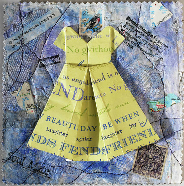 Paper Dress Mixed Media - Origami Dress-yellow by Virginia Fitzgerald