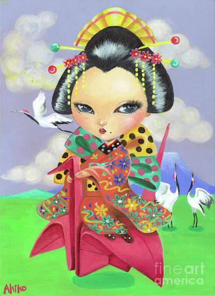 Origami Painting - Origami Girl by Akiko Okabe