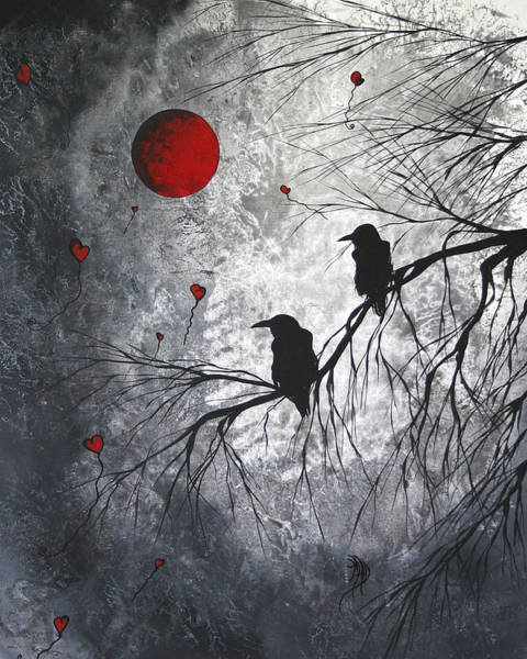 Gray Wall Art - Painting - Original Abstract Surreal Raven Red Blood Moon Painting The Overseers By Madart by Megan Duncanson