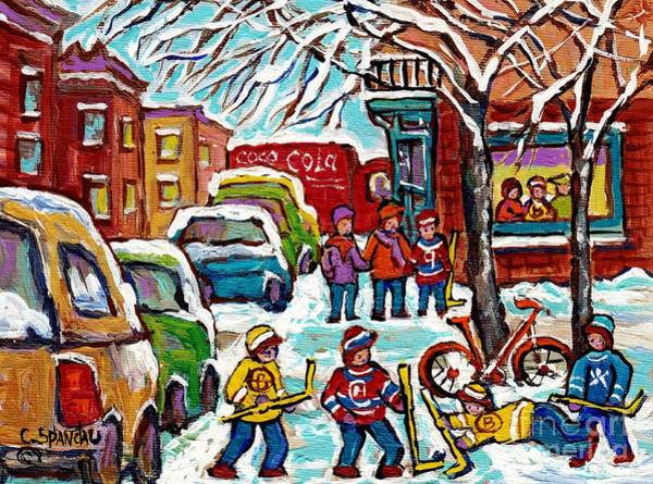 Painting - Original Artwork For Sale Wilensky Diner Hockey Game Montreal Winter City Scene C Spandau Painting by Carole Spandau