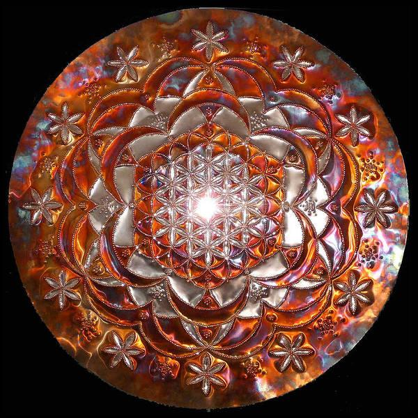 Digital Art - Original Copper Lightmandala Rose Of Life by Robert Thalmeier