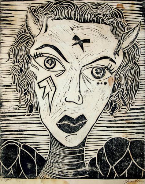 Wall Art - Print - Original Devil Block Print by Thomas Valentine