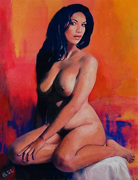 Painting - Original Female Nude Goddess Eirene I Sitting Orange Red Background by G Linsenmayer